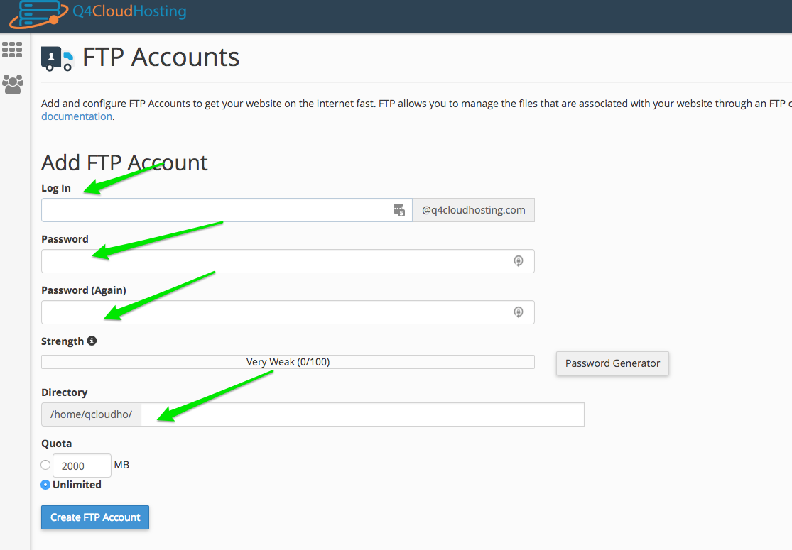 Create an FTP credentials if you're not using your main cPanel login