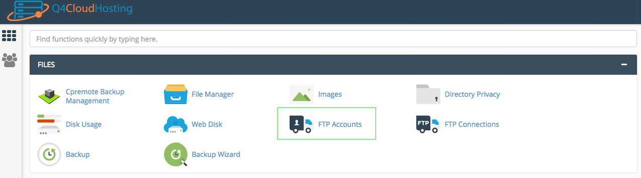 cPanel Dashboard where you will find FTP Accounts.